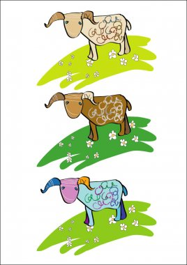 The lamb is grazed on a meadow stock vector