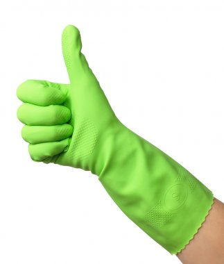 Hand wearing rubber glove shows thumb up sign