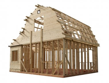 Skeleton of a wooden house