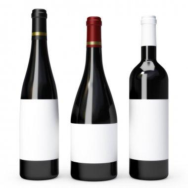 Three red wine bottles