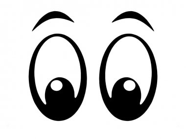 Illustration of black and white cartoon eyes stock vector