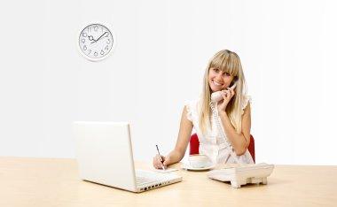 Secretary on phone