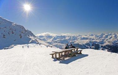Skiers relaxing on piste