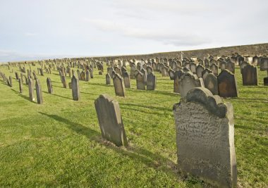 Old church cemetery with headstones