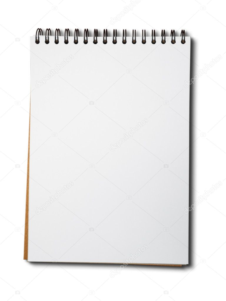 Blank white paper notebook