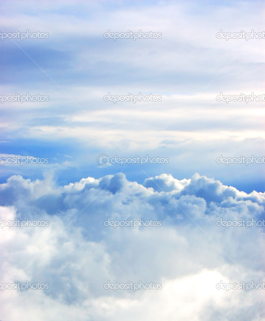 White clouds against blue skies background