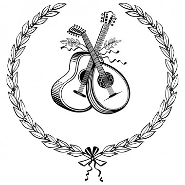 Laurel wreath with instruments