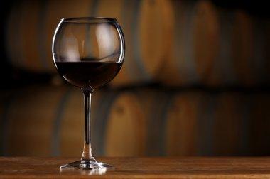 Glass of wine in wine cellar