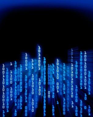 Binary code data flowing