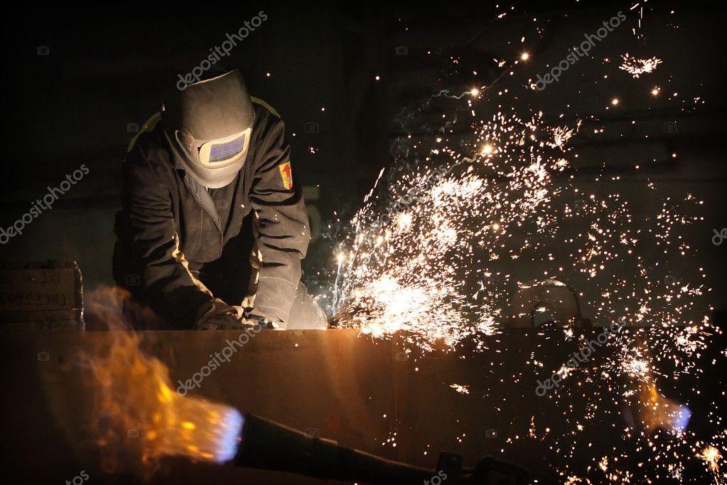 Welder at work stock vector