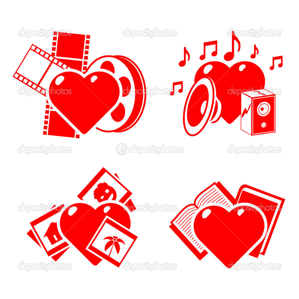 Set of the stylised hearts on a hobby theme.