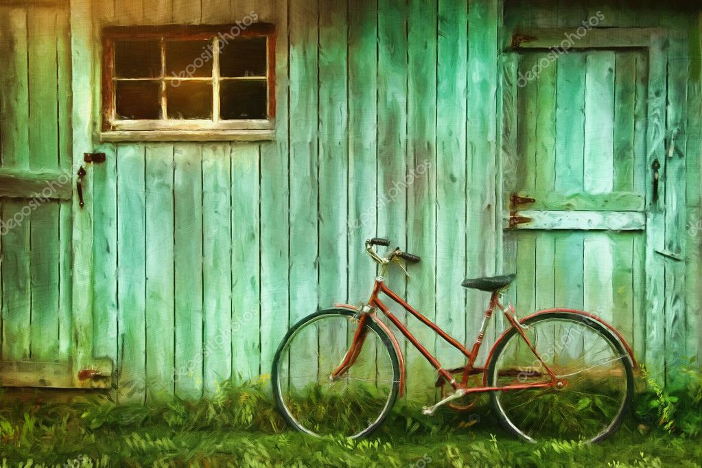 Digital Painting of old bicycle against barn