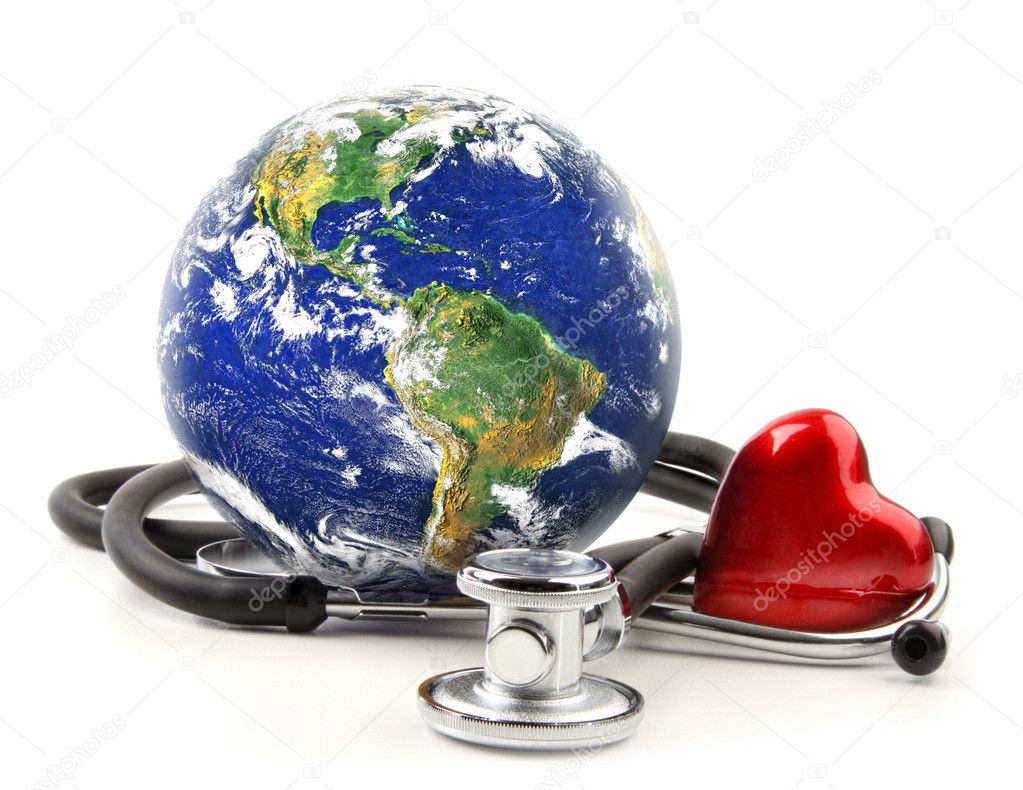 Stethoscope with globe on a white background