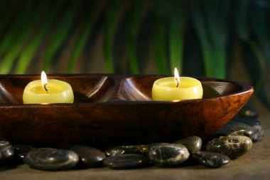 Massage stones and spa candles