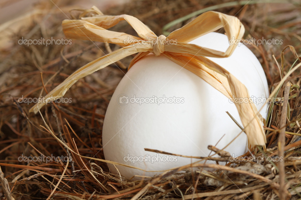 White egg with bow on straw background
