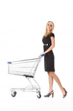 Beautiful woman with cart