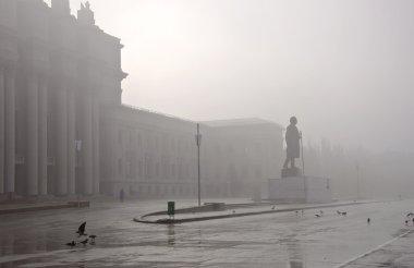 Foggy cityscape.