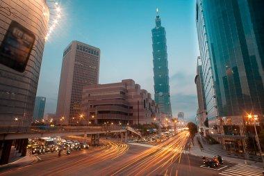 Traffic of Taipei night city