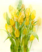 Photo Yellow tulips. Still Life. Watercolor on paper