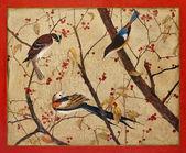 Photo Painting. Colorful birds on branches with red berries
