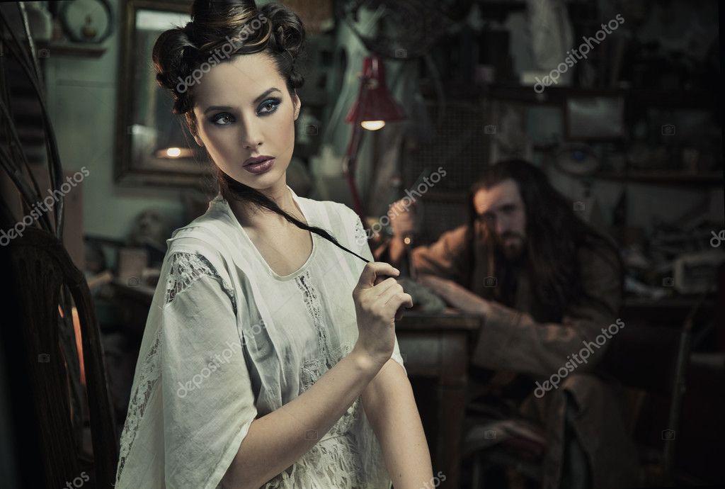Fine art photo of beautiful woman and the beast