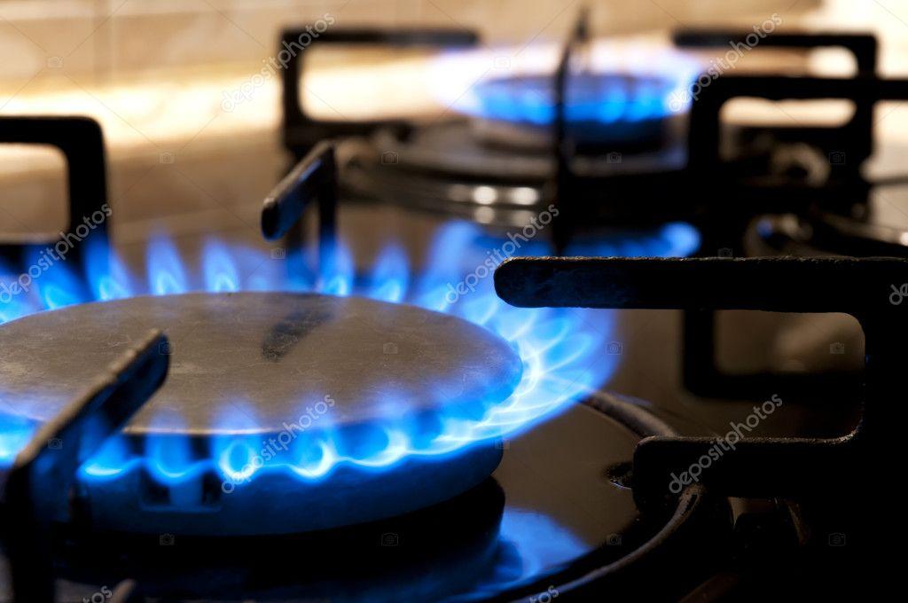 Gas stove. Closeup