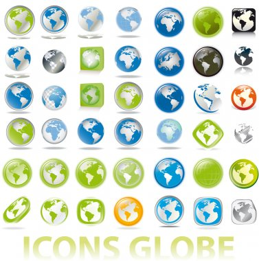 Collection of earth globes a map icons button