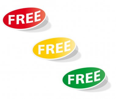 Oval labels with the inscription FREE