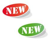 Oválný barevné štítky s nápisem nové