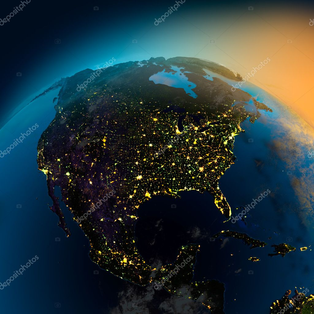 Night view of North America from the satellite