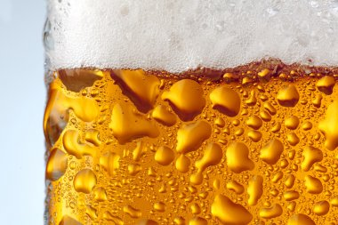 Misted over the surface of a glass of beer