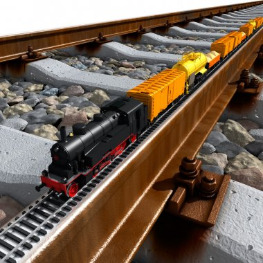 A miniature model of the train rides on big tracks