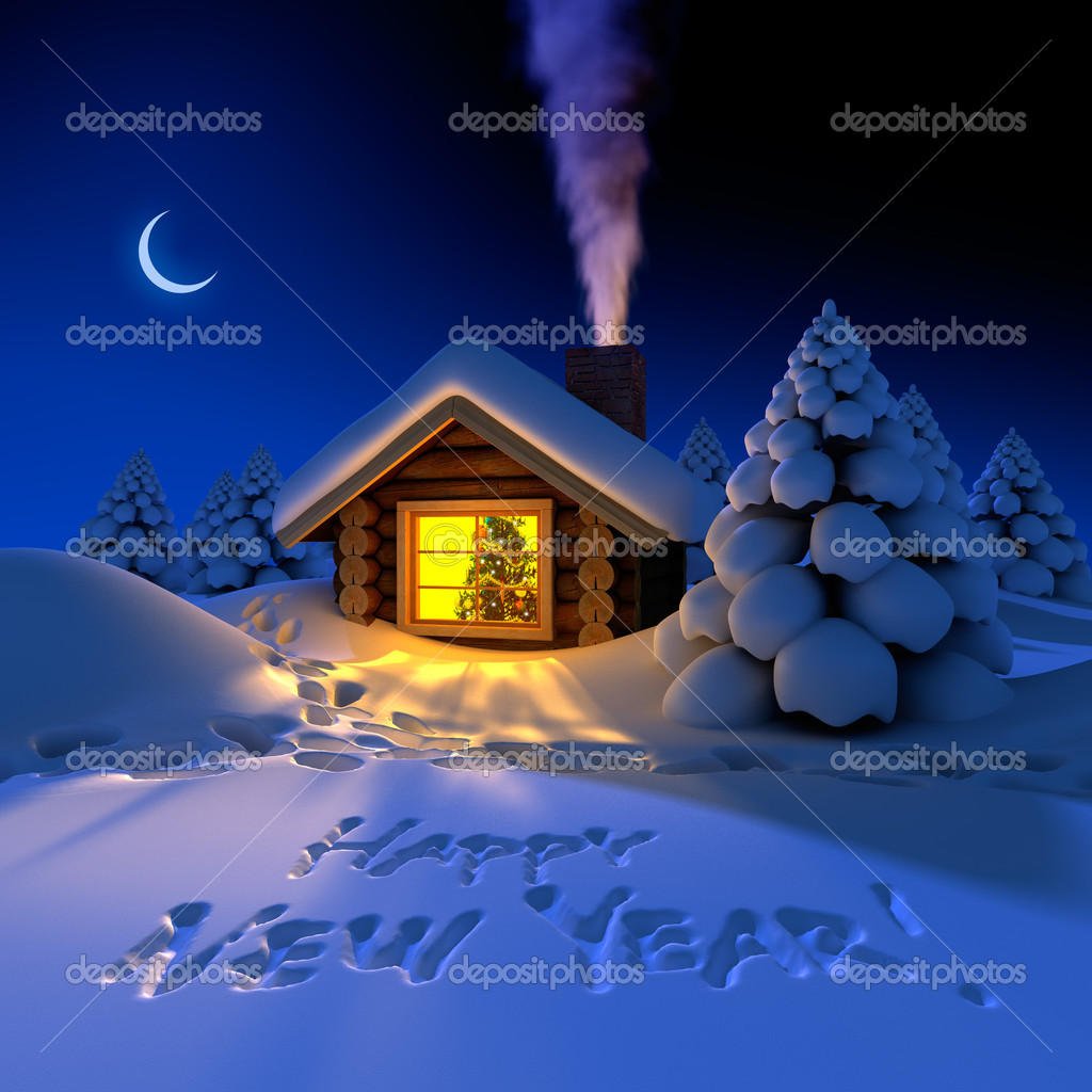Little house in the woods on New Year's night