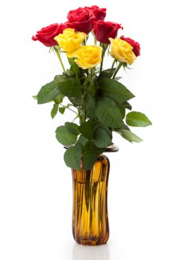 A bouquet of long red and yellow roses