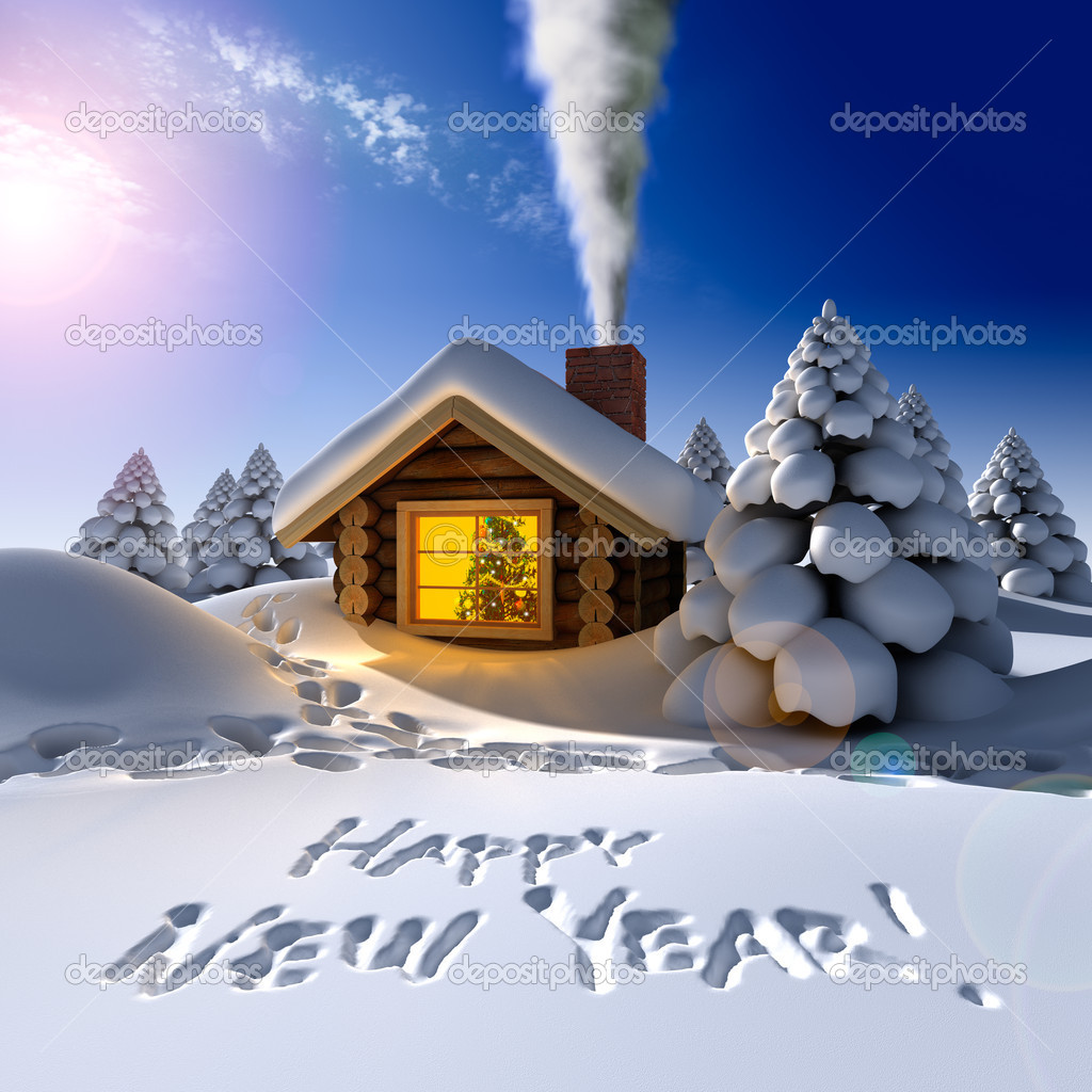 A small wooden house in a fantastic snow forest on the eve of New Year