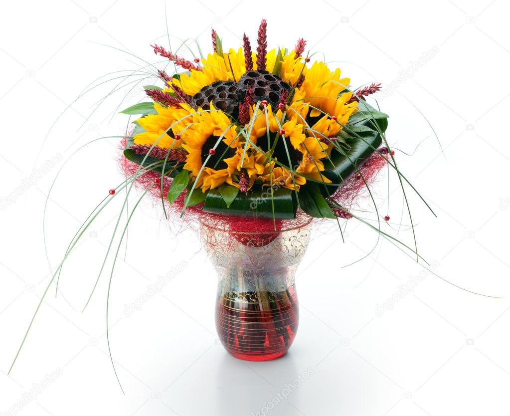 Festive bouquet of sunflowers