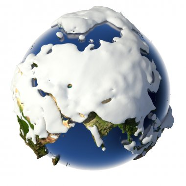 Planet Earth is covered by snow drifts