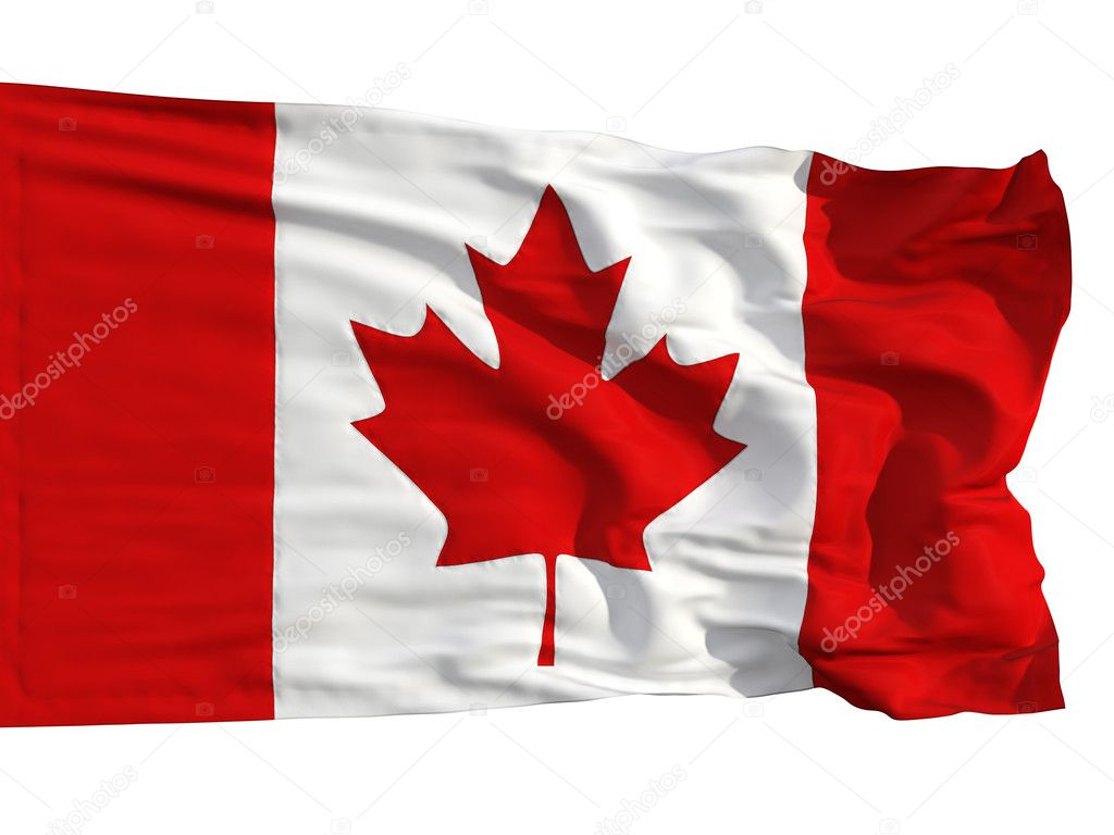 Flag of Canada, fluttered in the wind