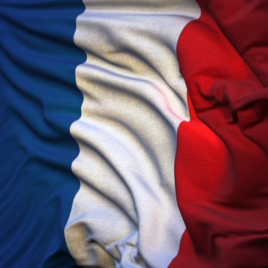 Flag of France, fluttering in the breeze, backlit rising sun