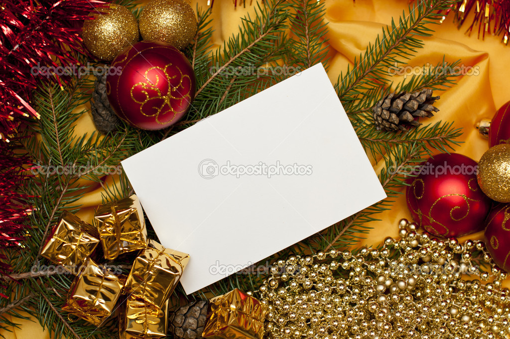 Christmas background with a blank card