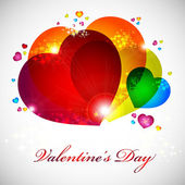 Valentine card with red, orange, yellow, blue hearts.