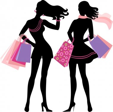 Silhouette of shopping girl