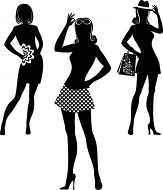 Silhouette of shopping women