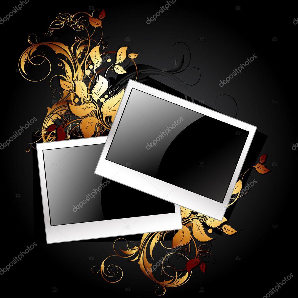Web-Symbol-Bilderrahmen mit floralen Elementen — Stockvektor ...