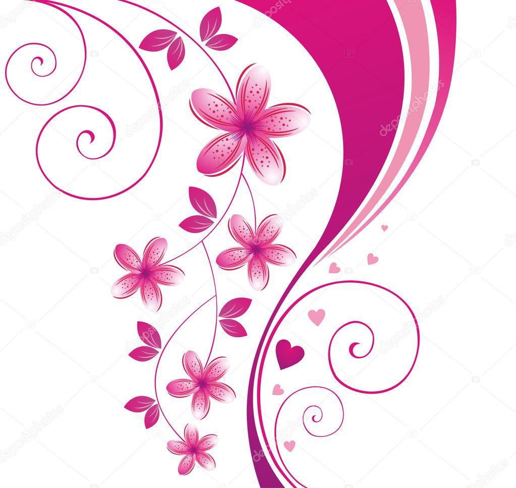 Pink flower. Floral background