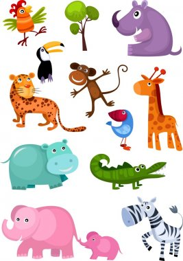 Vector illustration of a cute animal set stock vector