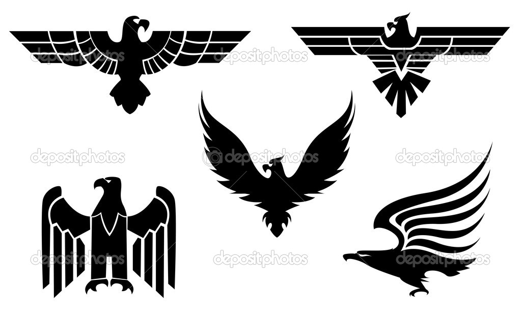 842167c64 Eagle symbol isolated on white for tattoo design — Vector by Seamartini