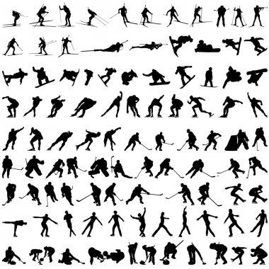 Set of winter sport silhouettes. Vector illustration. stock vector