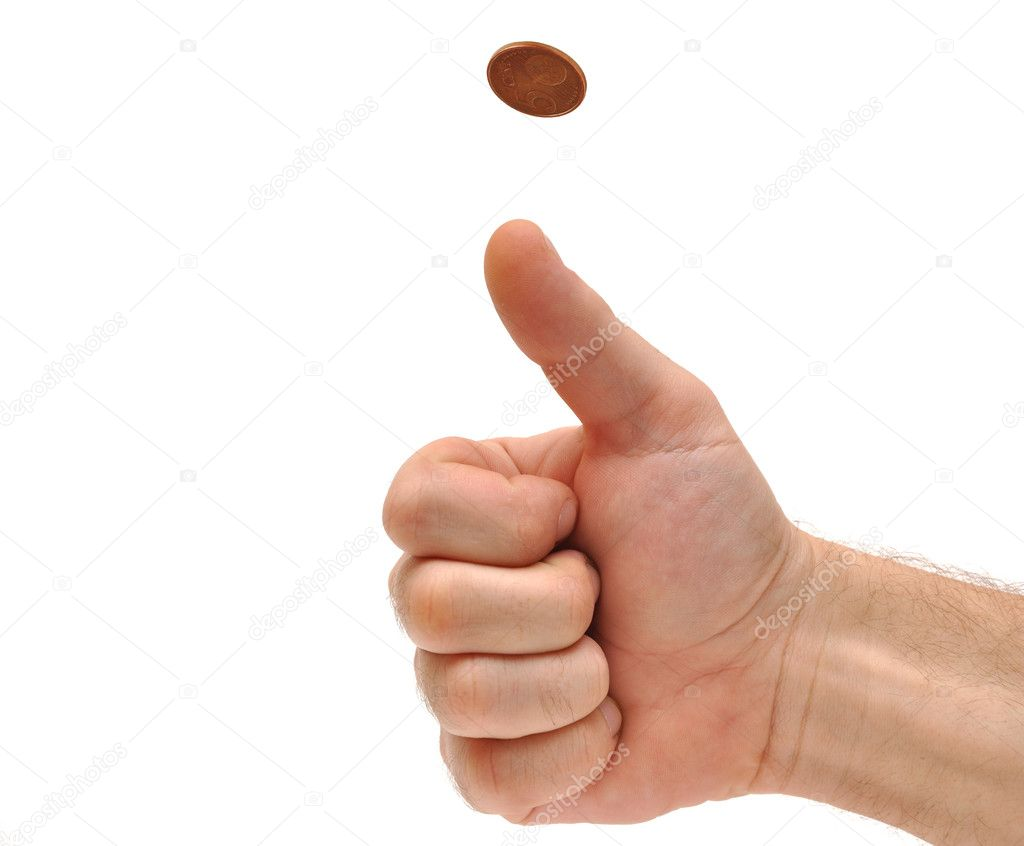 Man's hand throwing up a coin to make a decision — Stock