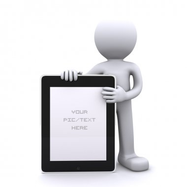 3D man holding a blank tablet pc. Advertising concept
